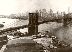 Brooklyn Bridge Skyline 1925